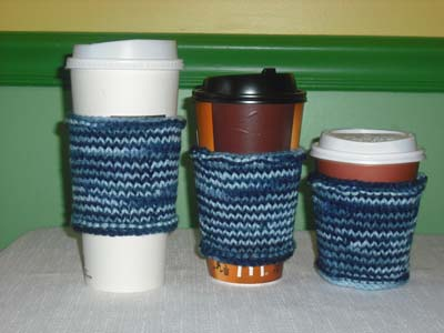 knitted Coffee Cozies, knitted Coffee Sleeves, knitted Coffee Jackets