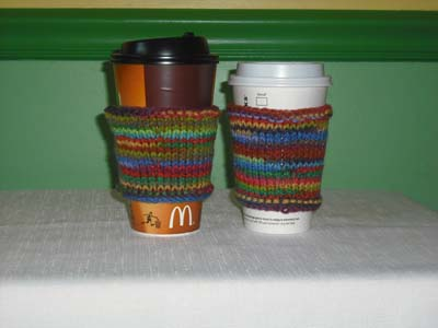 knit Coffee Cozies, knit Coffee Sleeves, knit Coffee Jackets